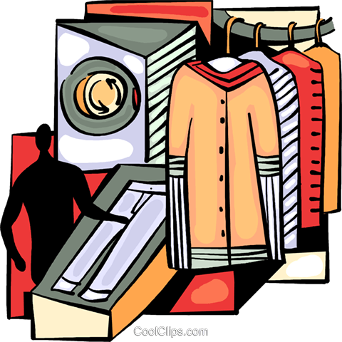 Dry Cleaners Royalty Free Vector Clip Art illustration.