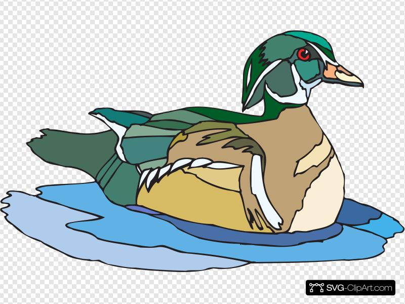Swimming Brown And Green Duck Clip art, Icon and SVG.