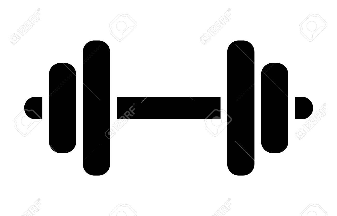 Dumbbell or dumbells weight training equipment flat vector icon...