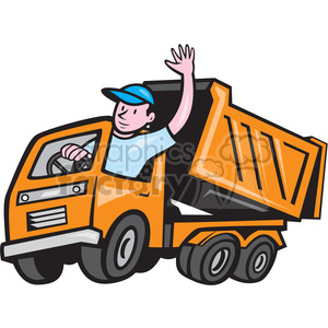 DUMP TRUCK driver wave ISO clipart. Royalty.