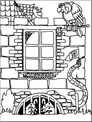 Clip Art: Halloween Houses: The Dungeon Monster B&W I.