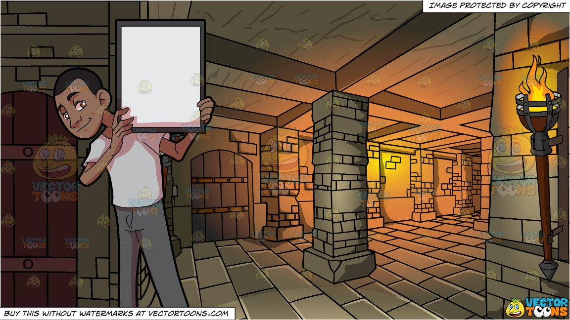 A Black Guy Holding A Signboard and A Medieval Dungeon Background.