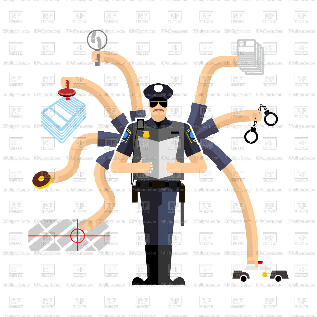 Police work, officer on duty Stock Vector Image.