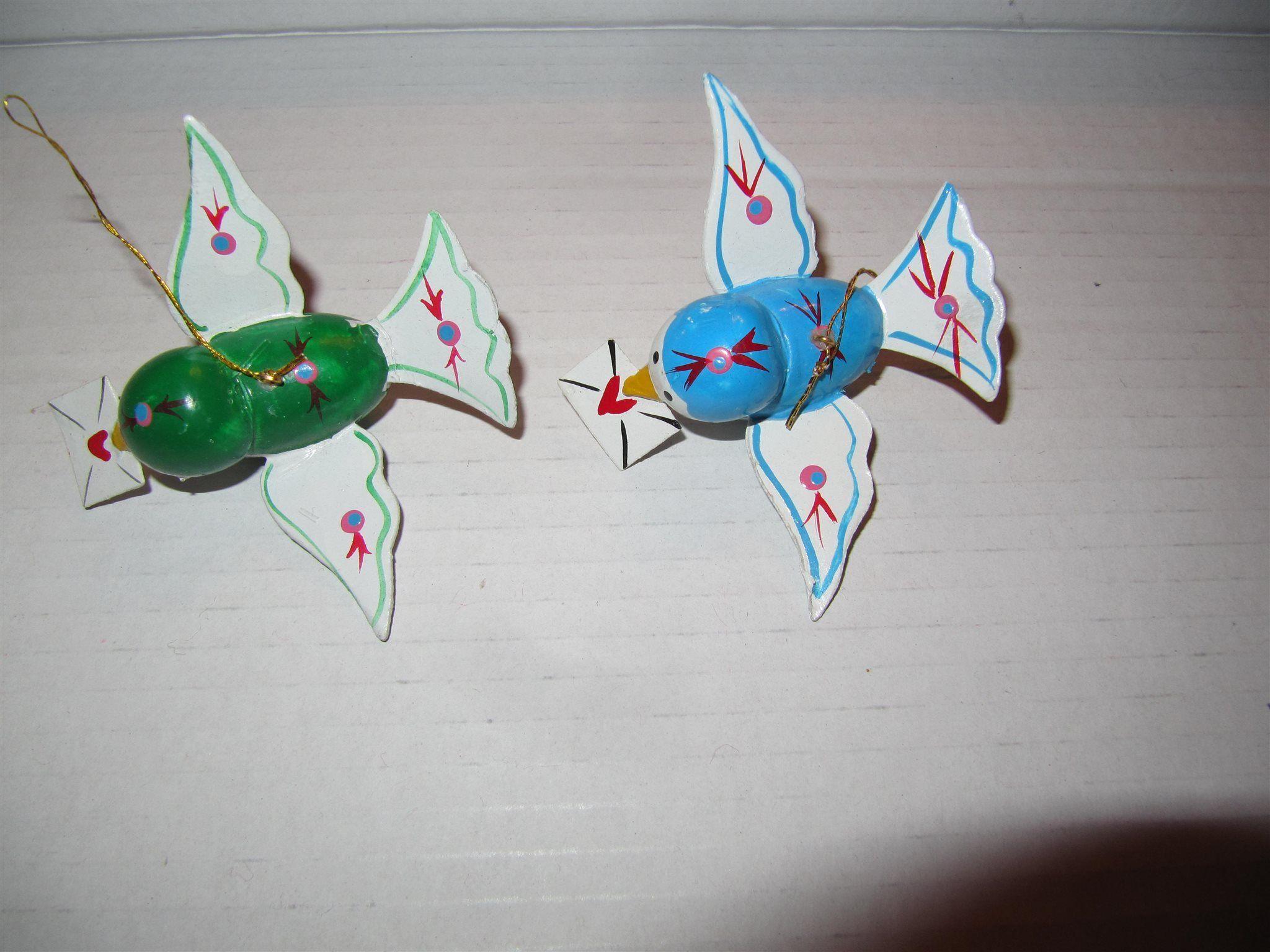 RETRO 2 Färgglada olika fåglar Brev Duvor Fågel Julgrans.
