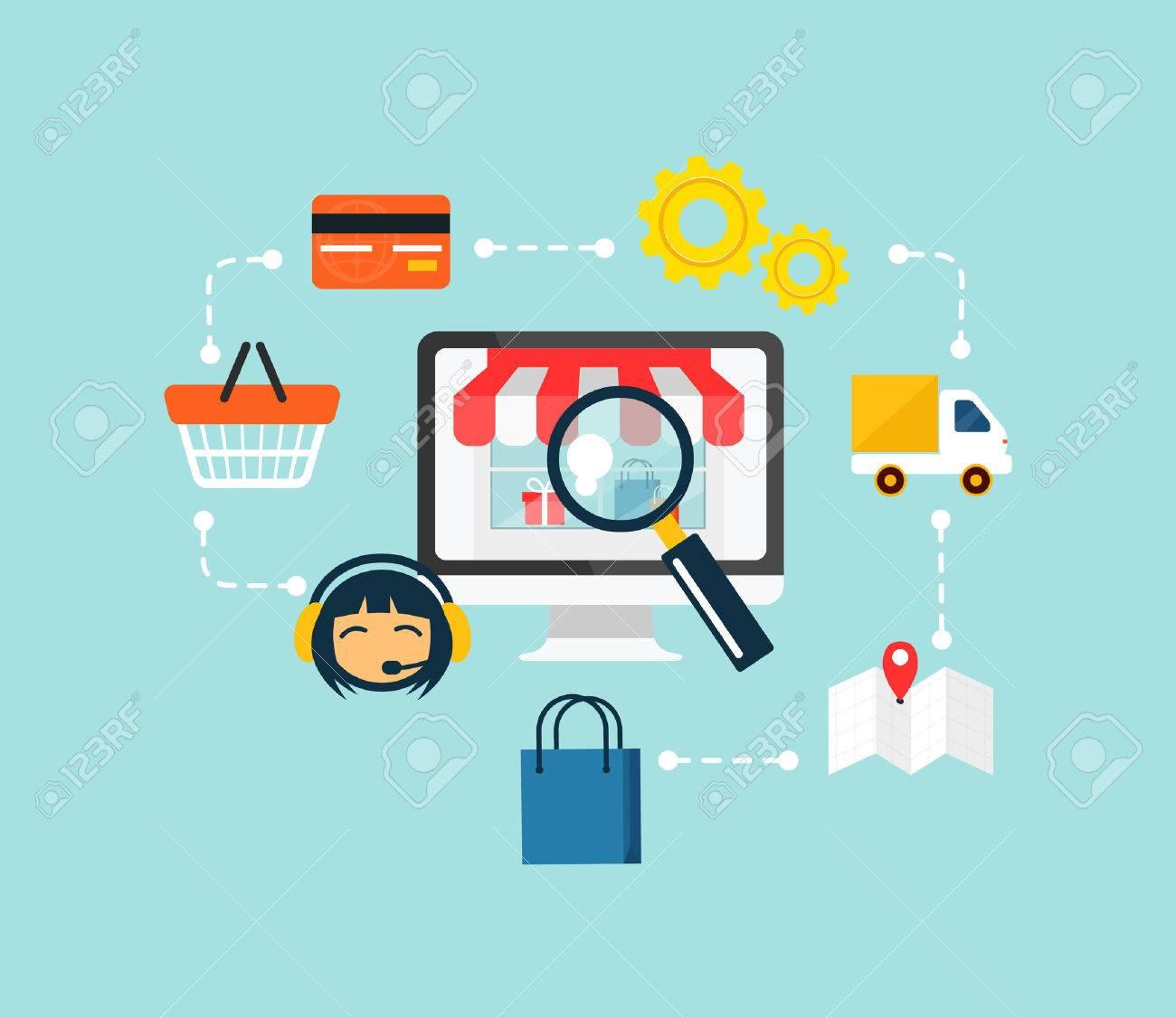Stock vector e commerce online shopping icon set.