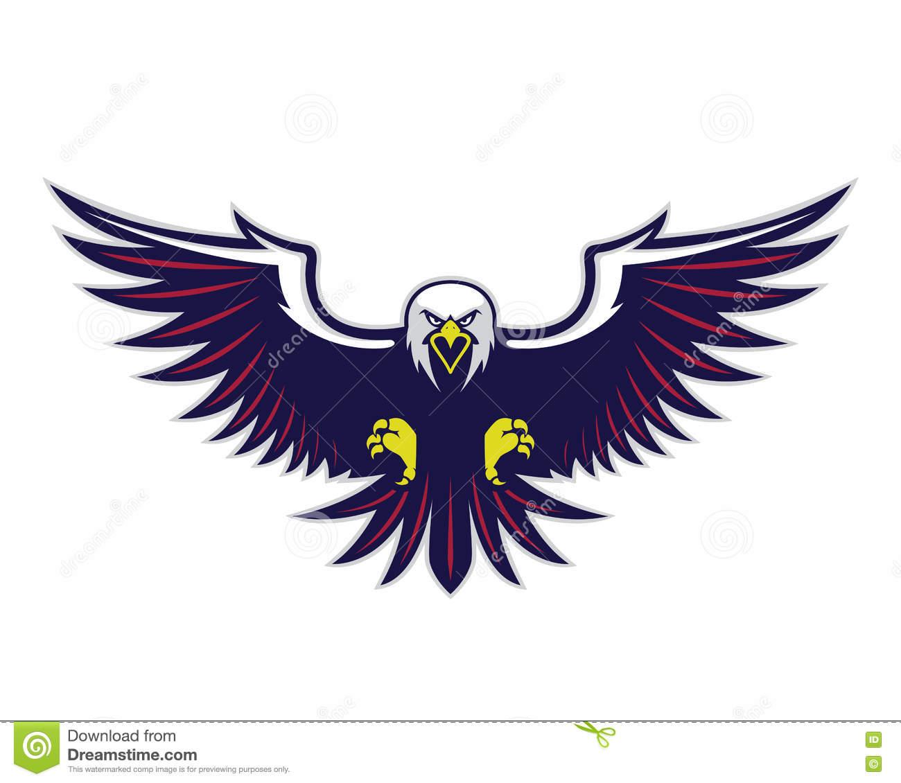 Flying eagle mascot stock vector. Illustration of flight.