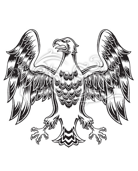 Graphic Medieval Eagle Wings Clip Art.