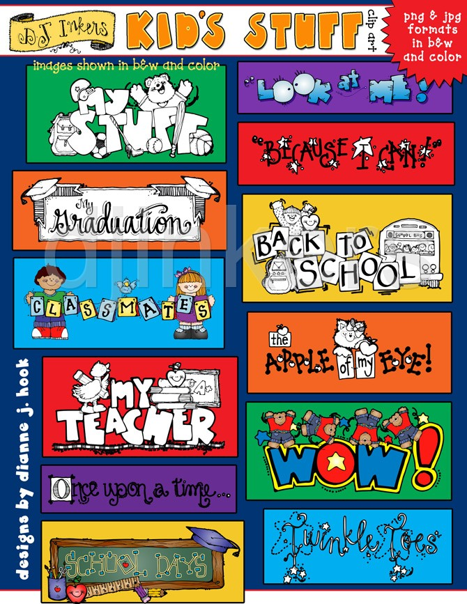 Kids Stuff, kids clip art, kid sayings, school sayings.