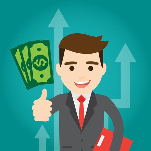 Businessman earns money.