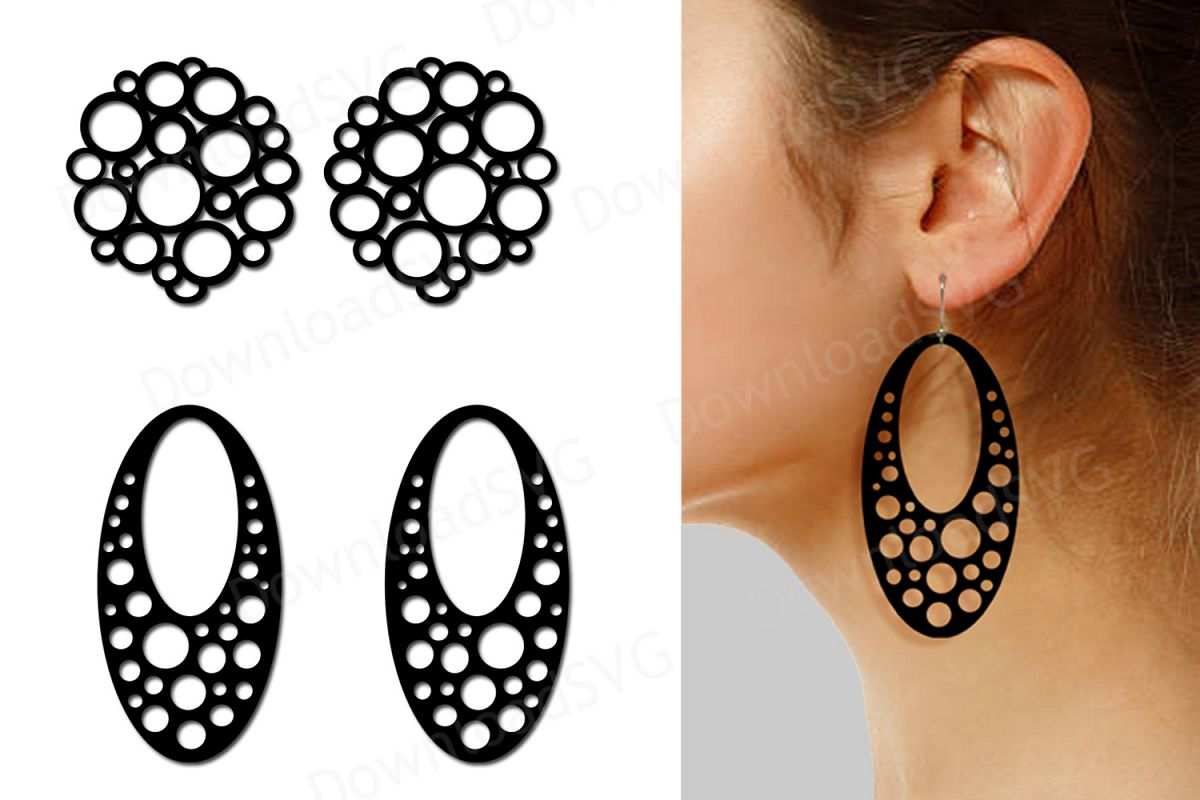 SVG and PNG cutting files, Earrings template, Clipart, Vecto.