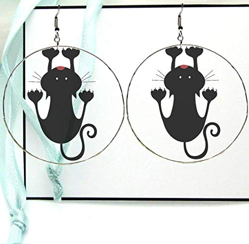 Amazon.com: Hanging Clinging Cat Silhouette Dangle Drop Hoop.