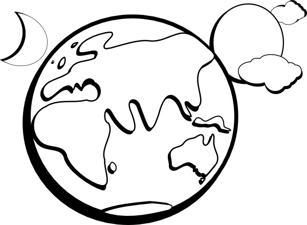 Earth Moon Sun Outline clip art Free vector in Open office drawing.
