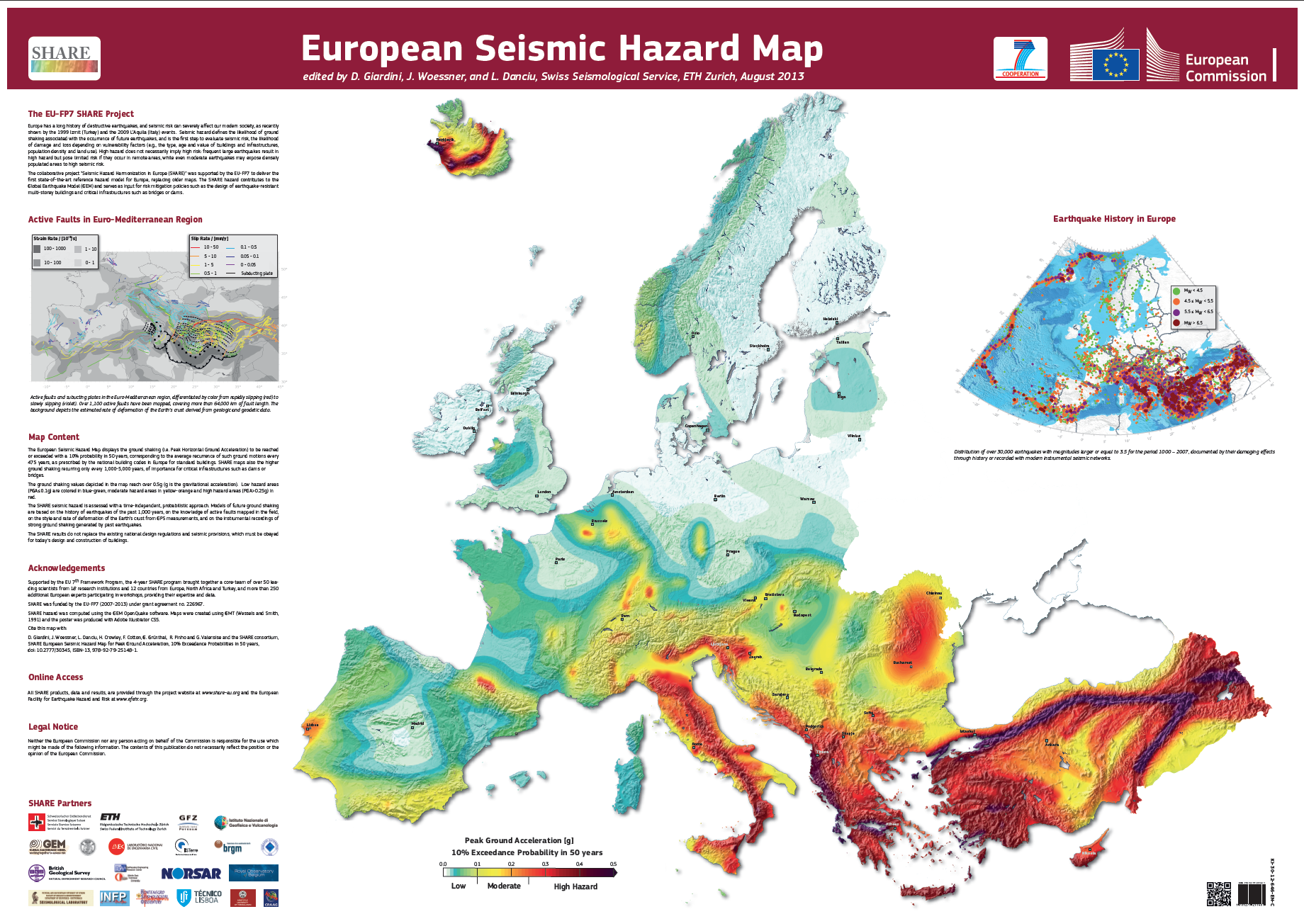 Europe seismic hazard map by SHARE #map #europe #earthquakes.