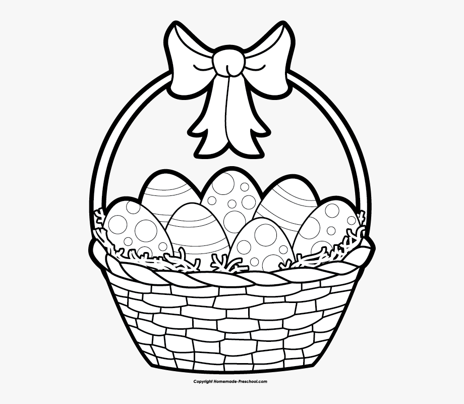 Easter Basket Clipart Black And White , Transparent Cartoon.