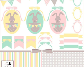 EASTER BUNNY clip art kit , hand drawn , cute , lilac and soft.