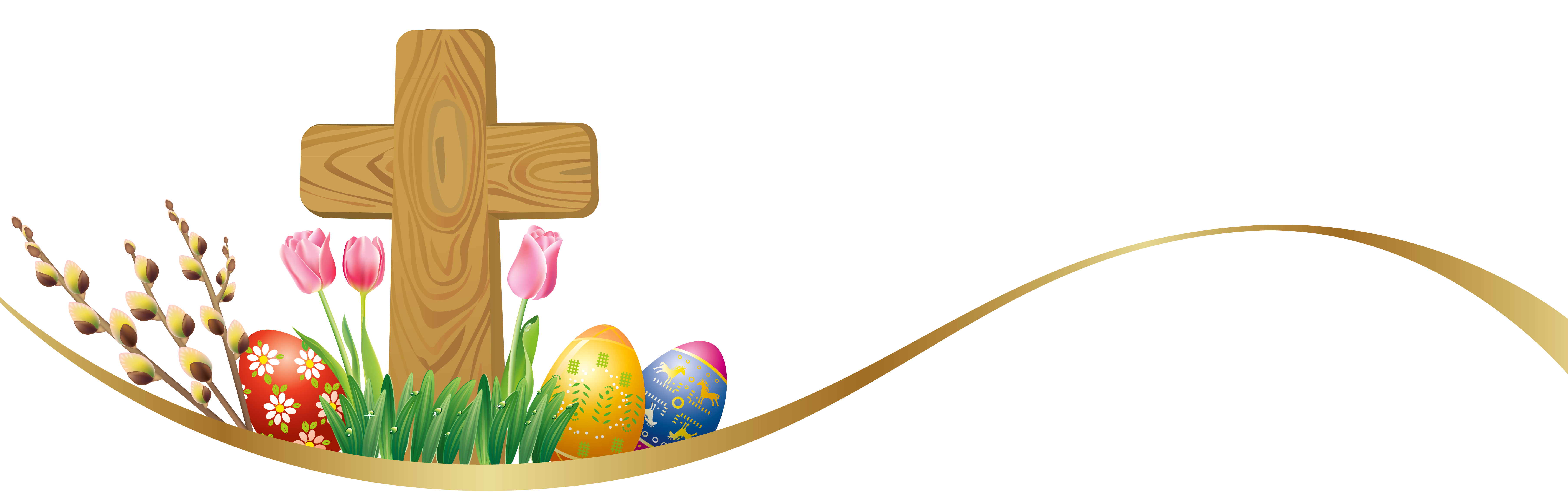 Easter Deco with Eggs and Cross PNG Clipart Picture.