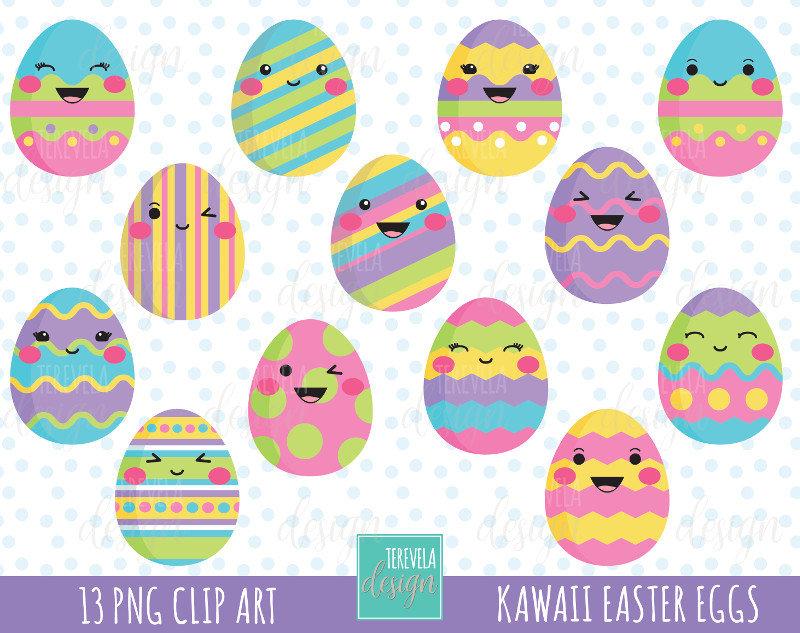 50% SALE EASTER clipart, easter eggs clipart, kawaii easter eggs,  commercial use, easter egg clipart, cute graphics, kawaii clip art.