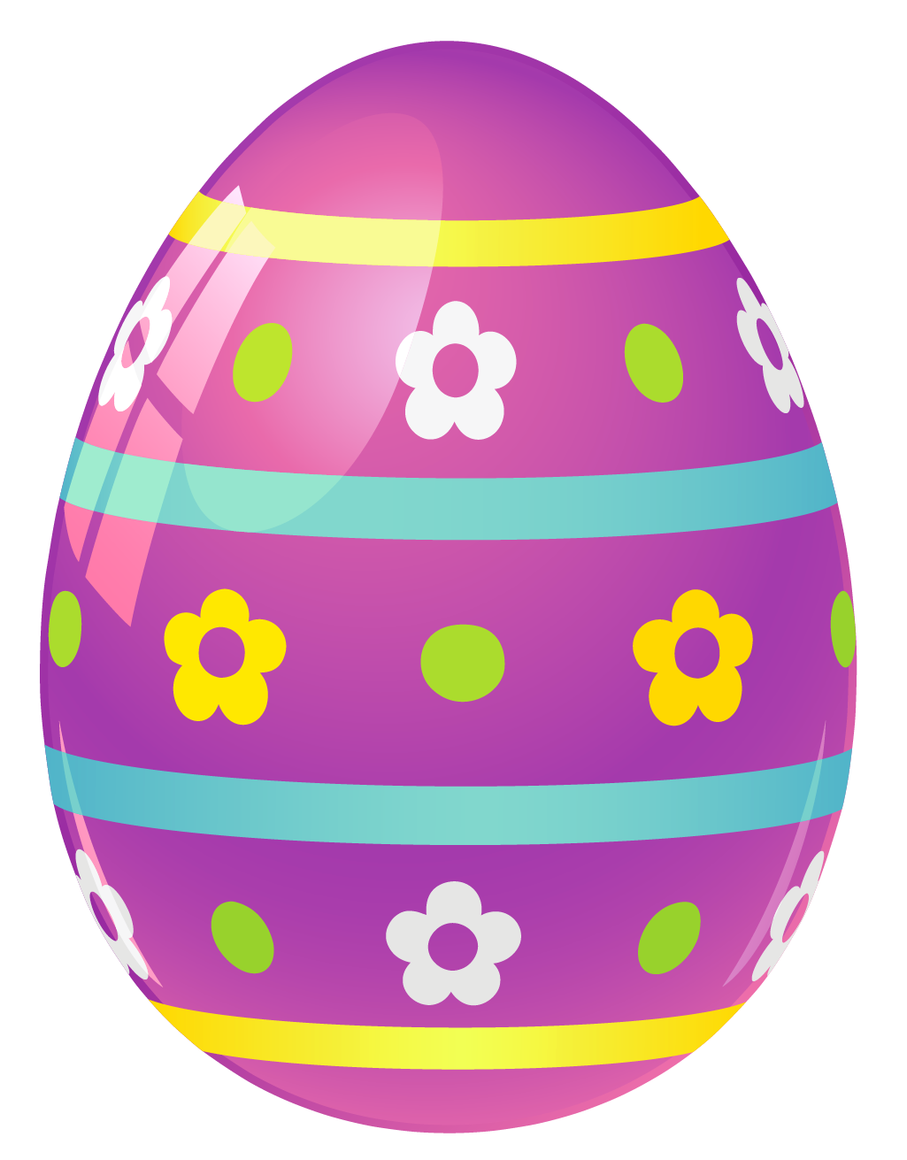 Purple Easter Egg with Flowers PNG Picture.