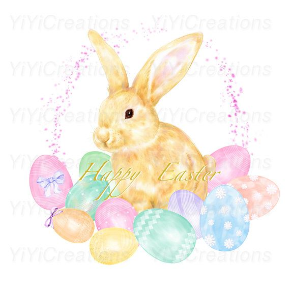Easter Charm Clipart, Spring Watercolor Bunny Painting.