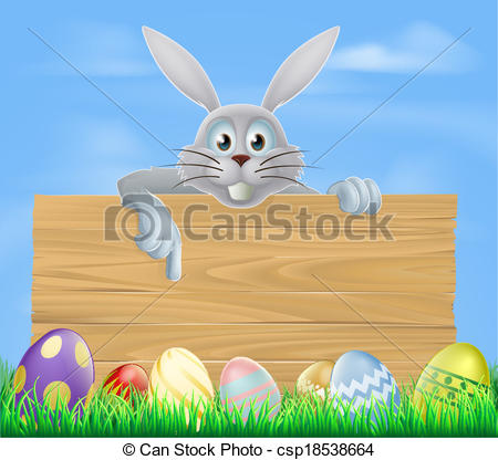 Wooden sign Easter eggs and bunny.