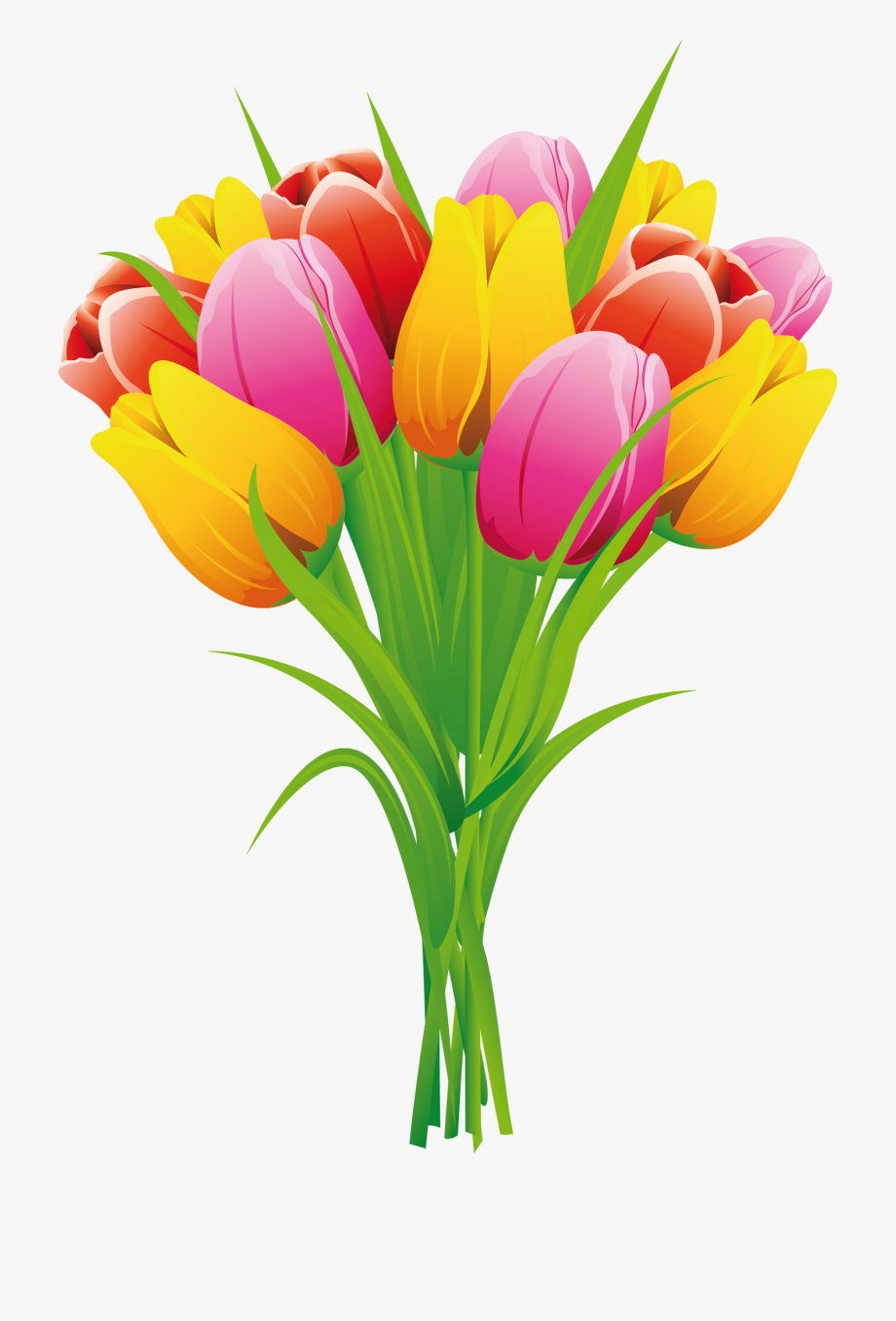Tulip Clipart, Flower Clipart, Easter Flowers, Butterfly.