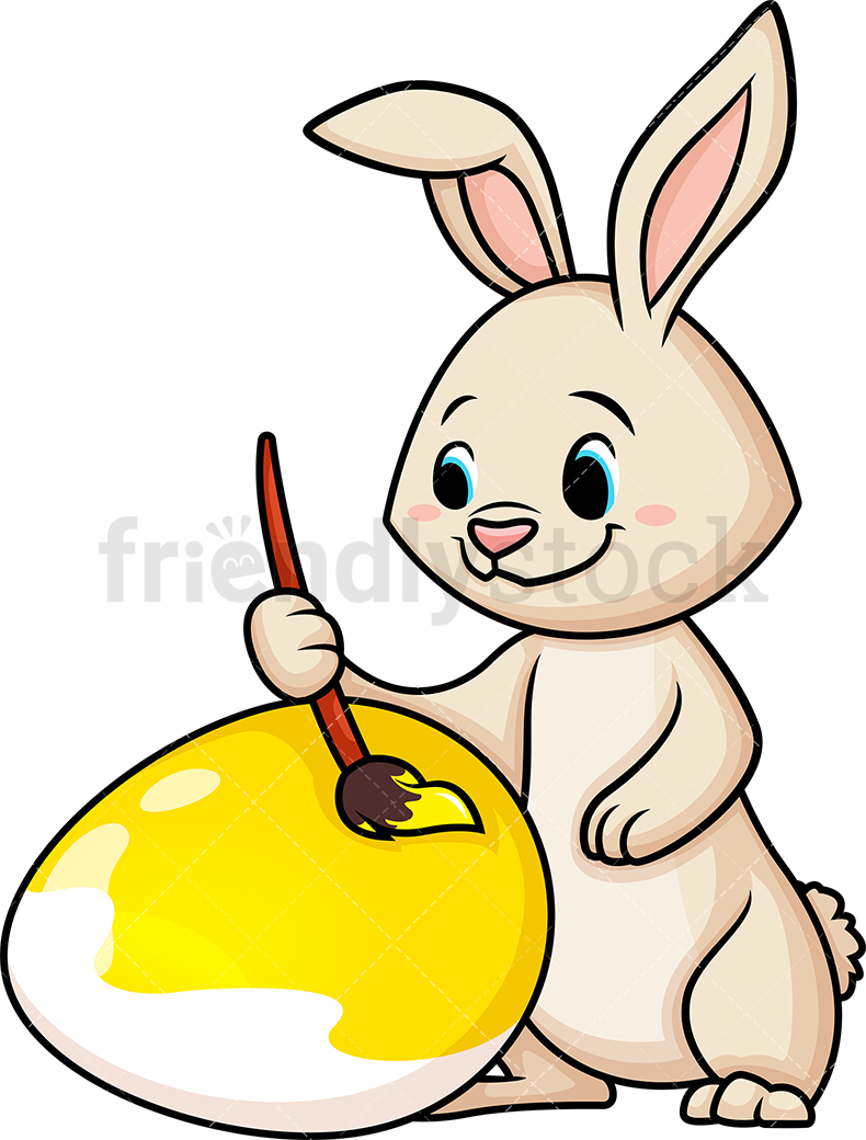 Easter Bunny Painting Egg.