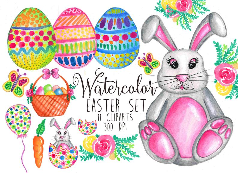 Watercolor Easter Clip Art Easter bunny clipart Bunny Easter Egg clipart  Balloon bunny clipart Cute watercolor clipart Easter Rabbit Clipart.