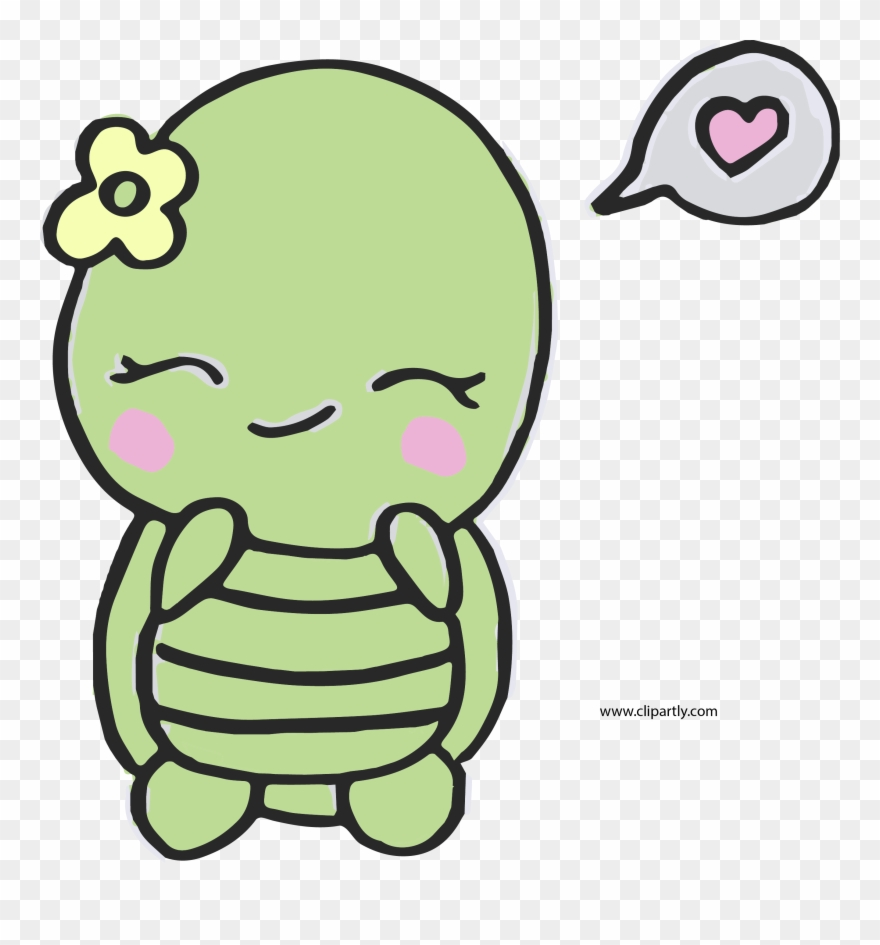 Sweet And Cute Turtle Easy Png Clipart.