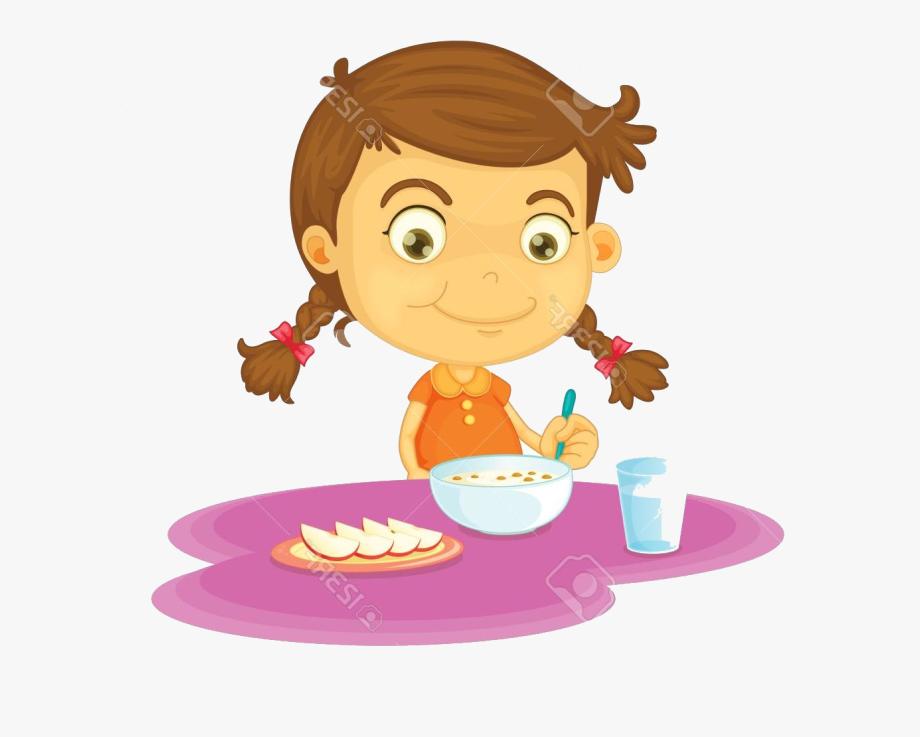 Girl Eat Breakfast Clipart , Transparent Cartoon, Free.