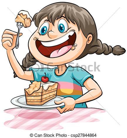 Clipart Eating Cake.
