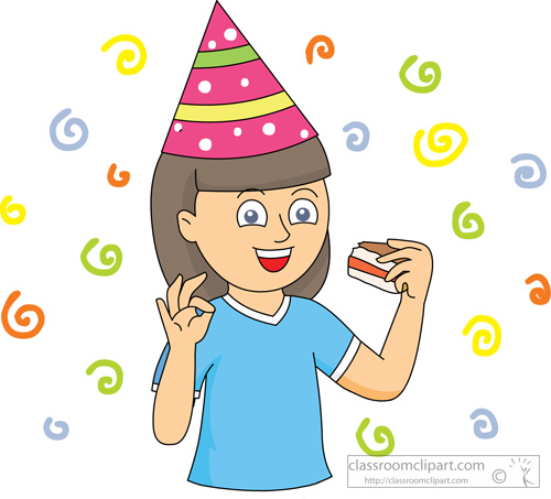 Little Girl Eating Cake Clipart.