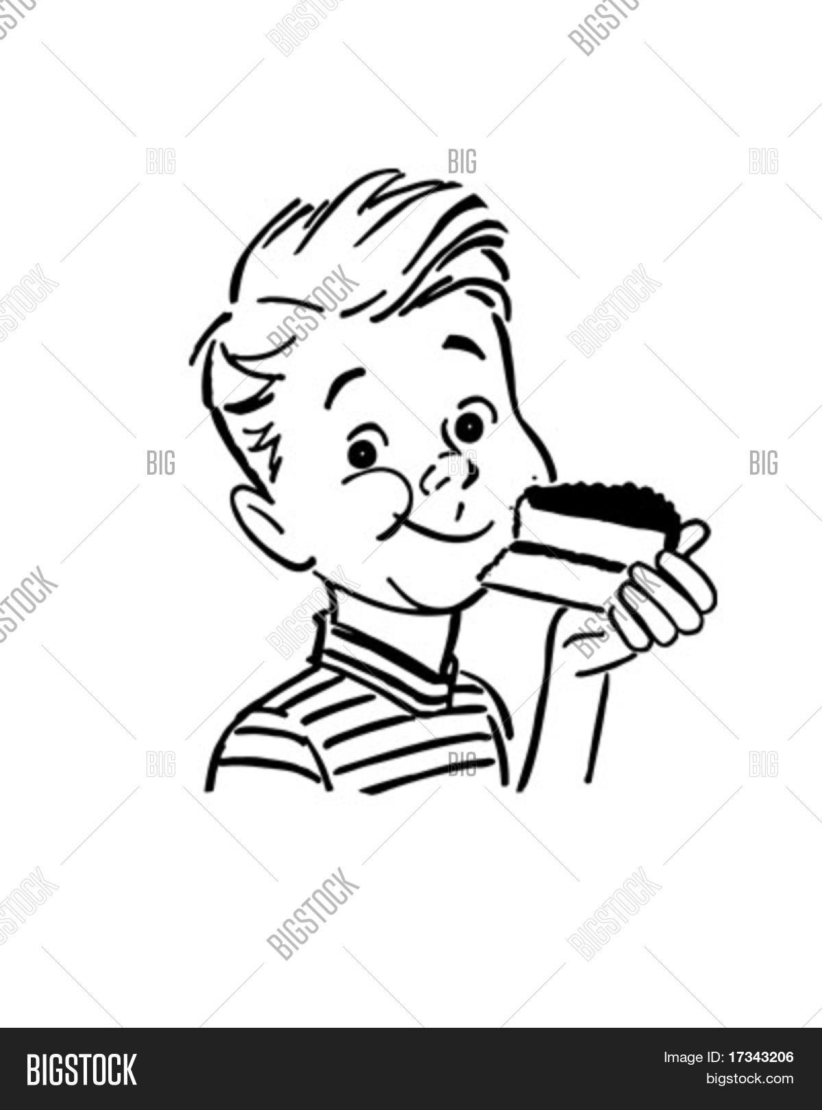 Boy Eating Cake.