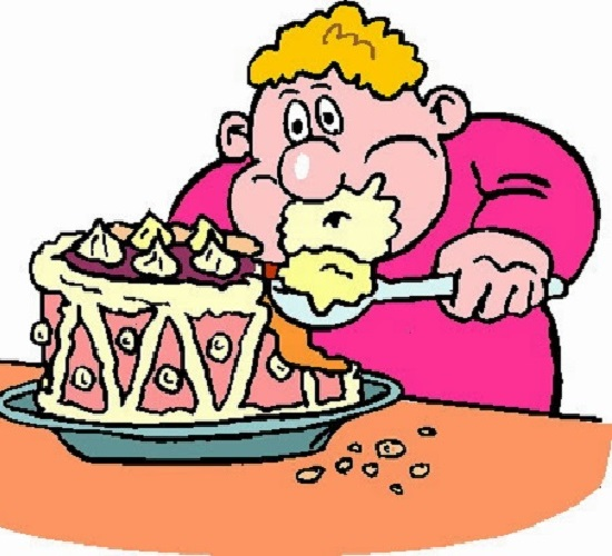 Kid eating cake clipart.
