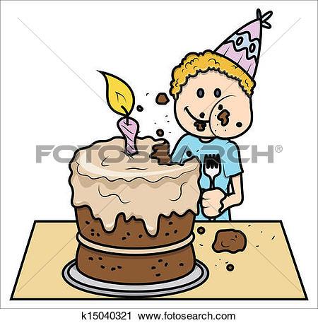 Clip Art of Cartoon Birthday Cake Vector k15040376.