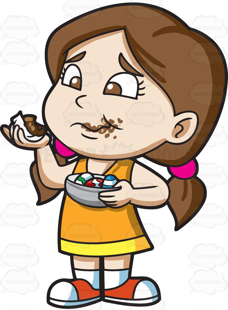 Girl With Chocolate Clipart.