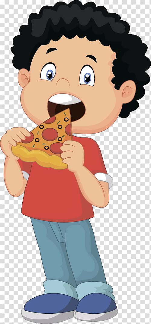 Boy eating pizza illustration, Pizza delivery Eating.