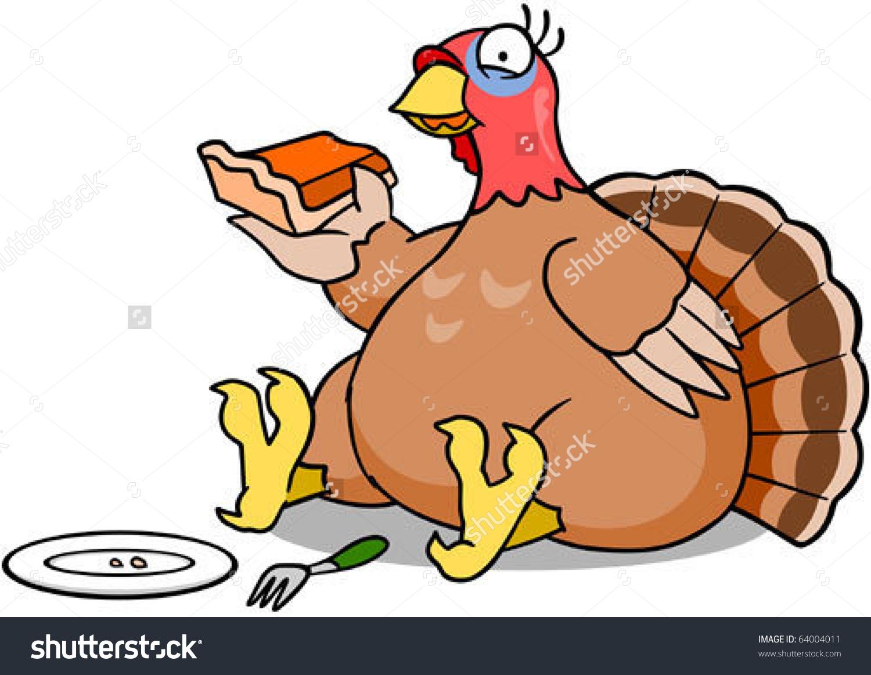 Plump Turkey Eating Slice Pumpkin Pie Stock Vector 64004011.