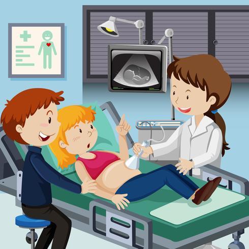 Couple rencontre un médecin pour une échographie.