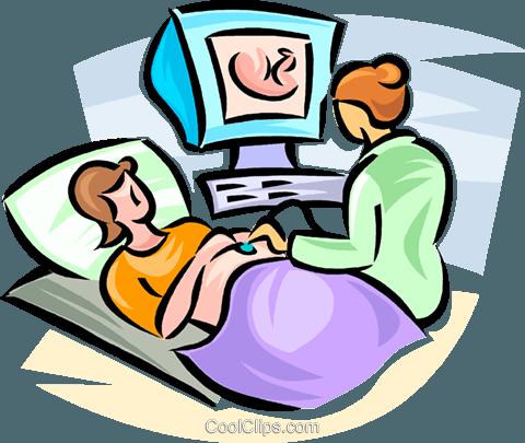 femme enceinte ayant une échographie Vecteurs de stock et.