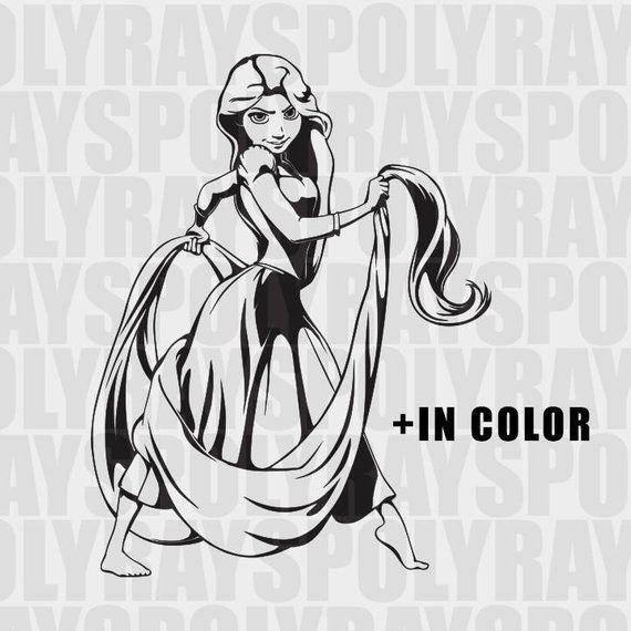 Tangled Rapunzel Clipart, Disney SVG, PNG, EPS, Stencils.