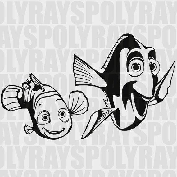 Nemo SVG, Dory EPS, Stencil Vector Clipart PNG, Nemo Stencil.