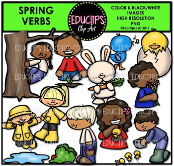 Spring Verbs Clip Art Bundle {Educlips Clipart}.