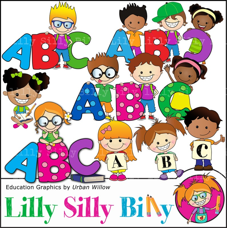 ABC clipart, Education Clipart.