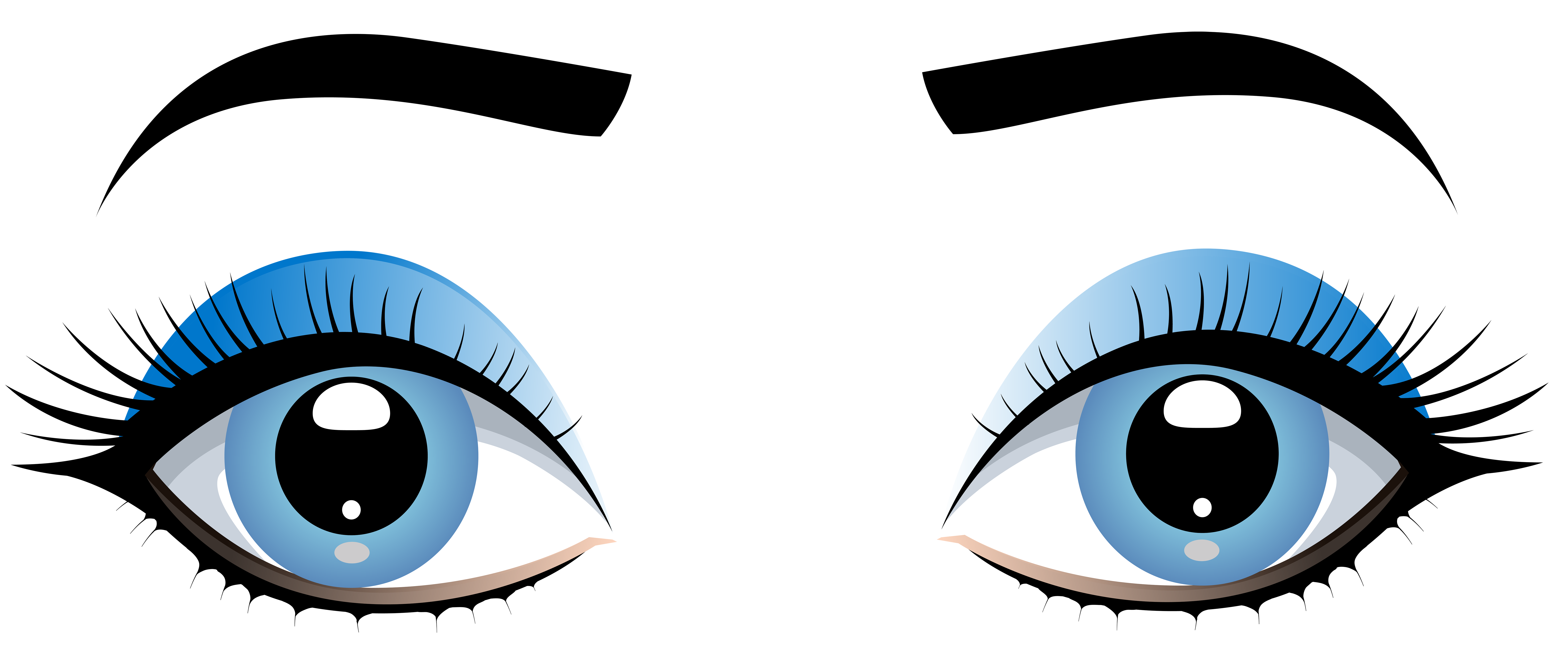 Blue Female Eyes with Eyebrows PNG Clip Art.
