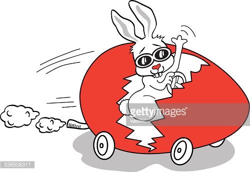 Easter Bunny In Egg Car Vector Art.