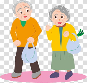 Old age Affection, elderly people transparent background PNG.