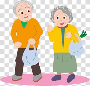 Old age Affection, elderly people transparent background PNG.
