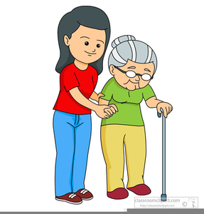 Helping Elderly Woman Clipart.