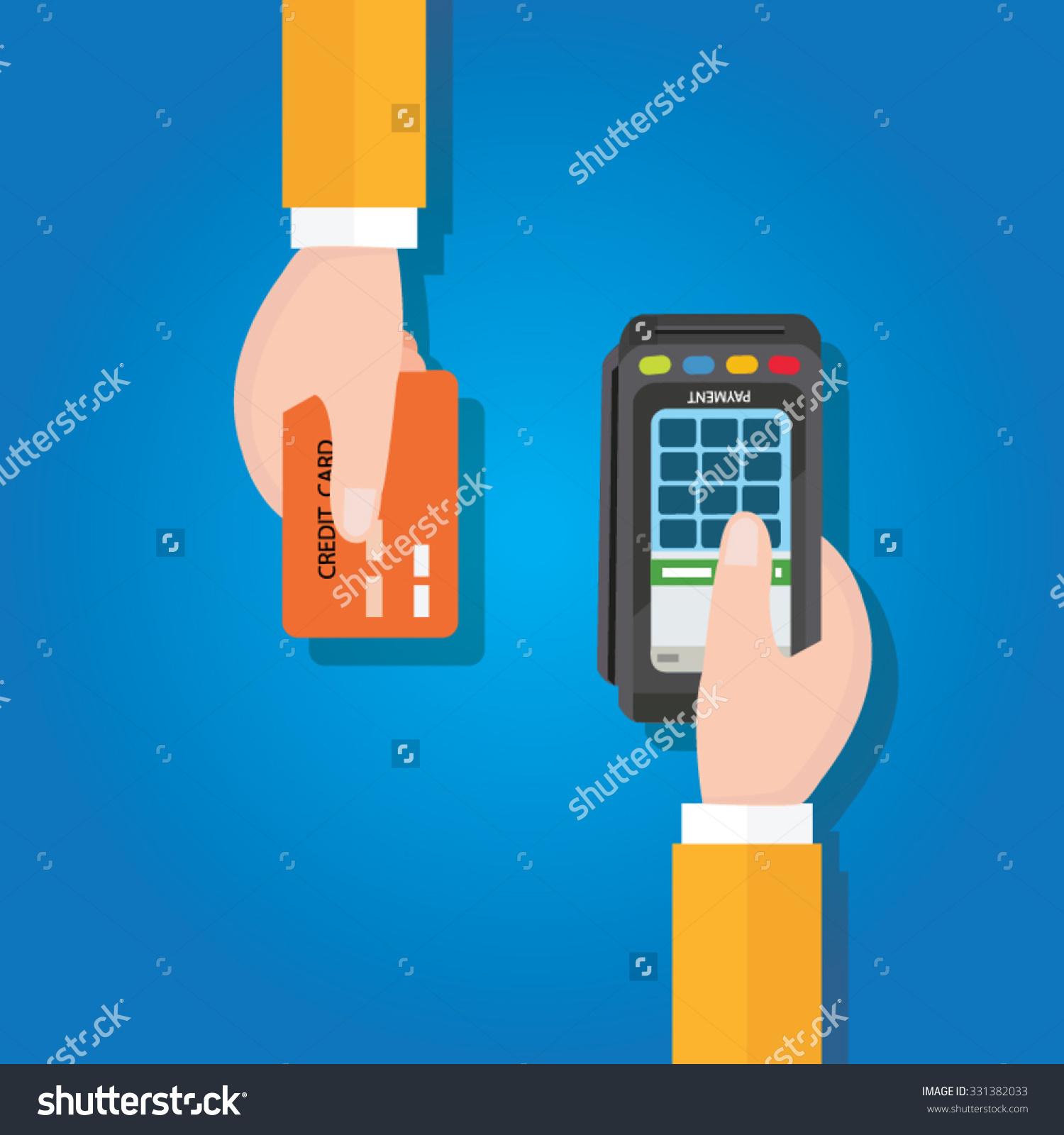 Pay Merchant Hands Credit Card Flat Stock Vector 331382033.