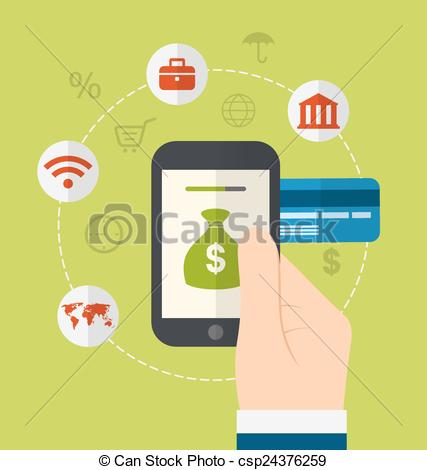 EPS Vector of Flat concepts for online payment.